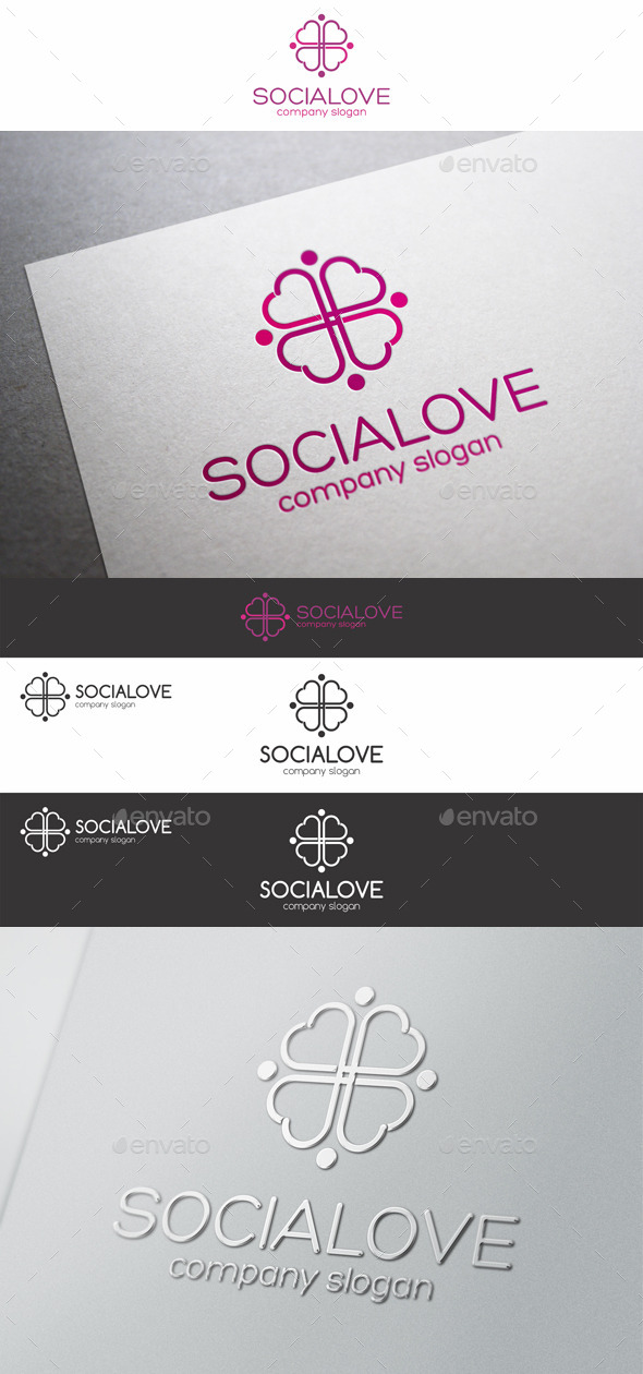 GraphicRiver Social Love Hearts Cross Logo 9493271