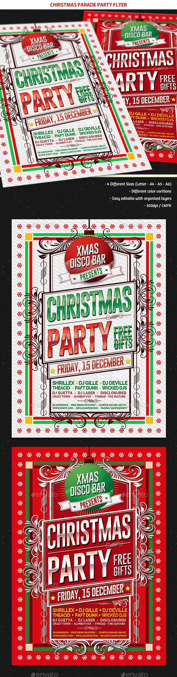 GraphicRiver Christmas Parade Party Flyer 9493384