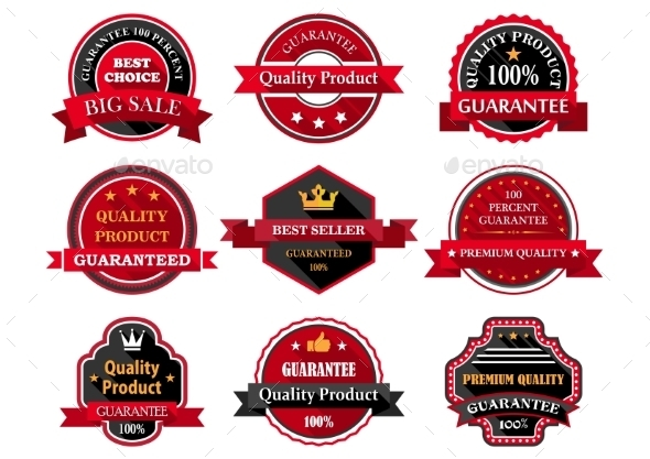 GraphicRiver Flat Quality Product Guarantee Badges or Labels 9493433