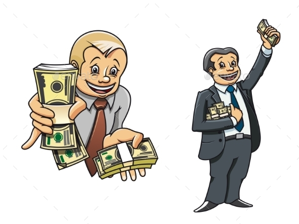 GraphicRiver Successful Businessman Characters with Money 9493445
