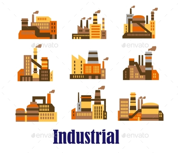 GraphicRiver Flat Industrial Icons of Plants and Factories 9493448