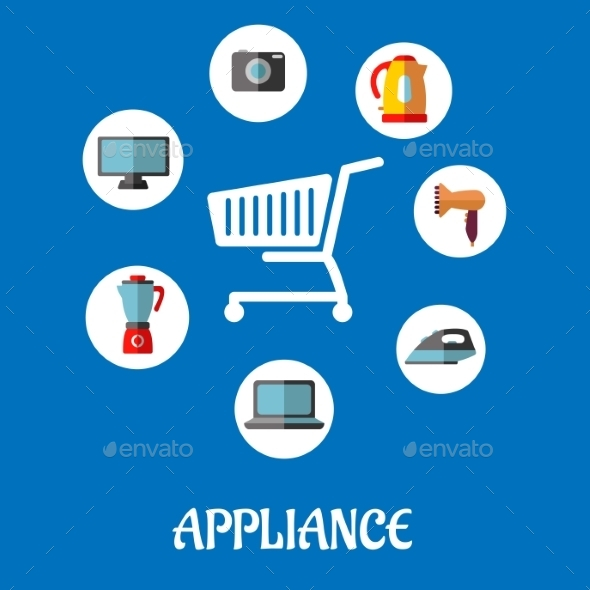 GraphicRiver Flat Household Appliances Icons 9493449