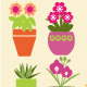 Set of Garden Flowers  and  Herbs in Pots  - GraphicRiver Item for Sale