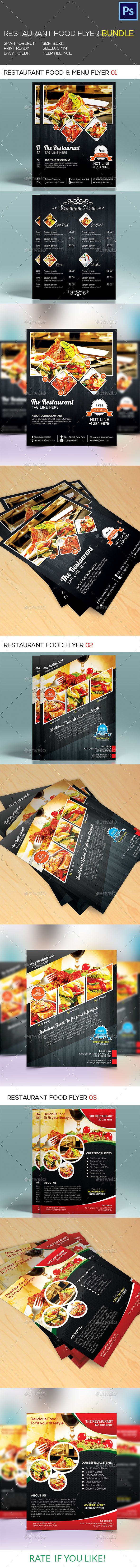 GraphicRiver Restaurant Food & Menu Flyer Bundle 9493658