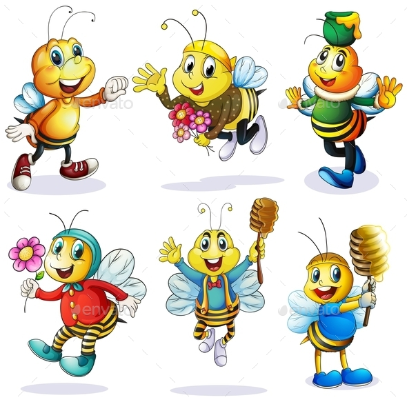 GraphicRiver Group of Happy Bees 9493673