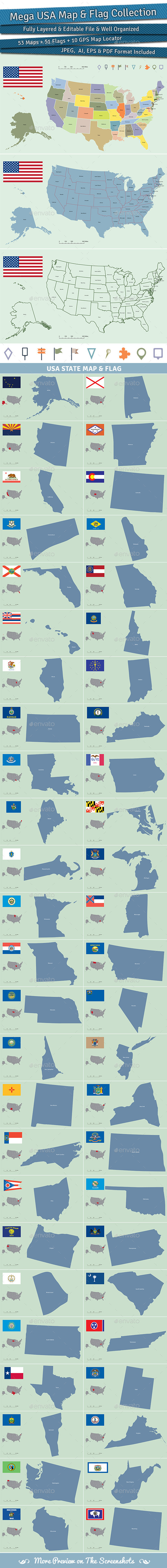 GraphicRiver Mega USA Map and Flag Collection 9493913