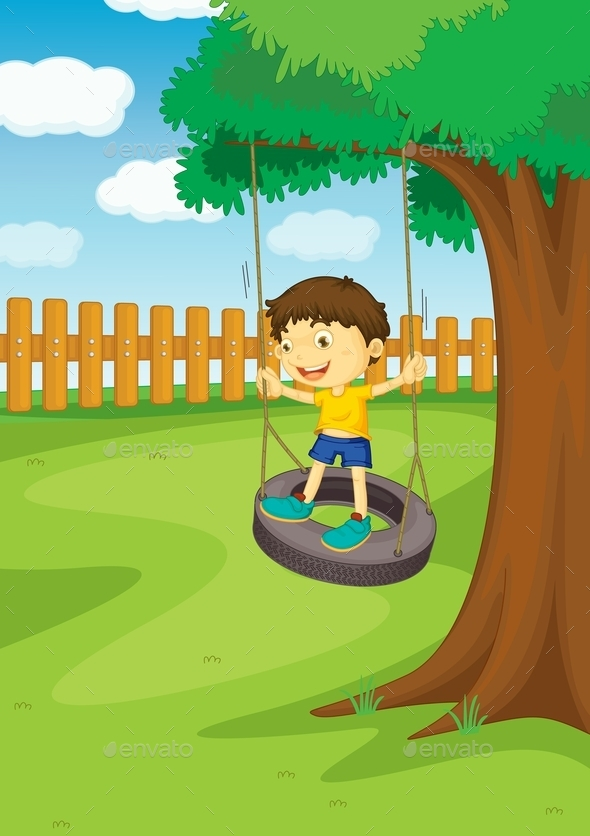 GraphicRiver Boy on a Swing 9493956