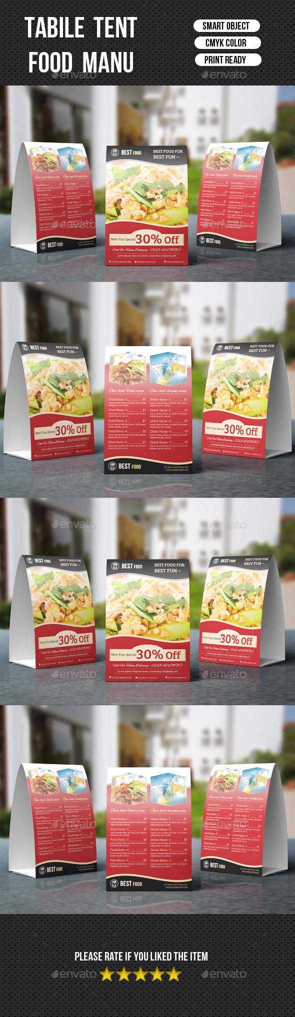 GraphicRiver Restaurant Table Tent-V03 9493997