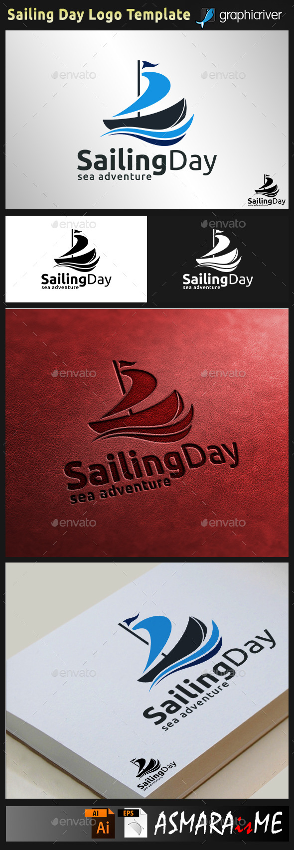 GraphicRiver Sailing Day Sailboat Logo 9494244
