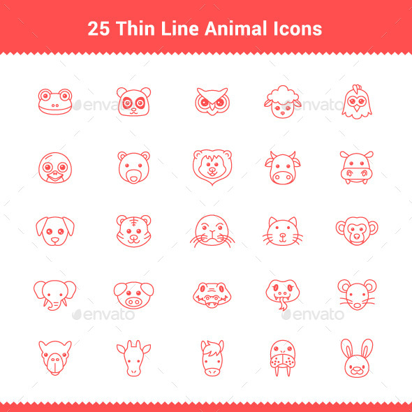 GraphicRiver 25 Thin Line Stroke Animal Icons 9494254