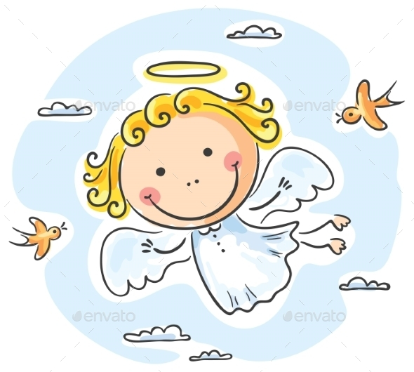 Angel Flying with Birds