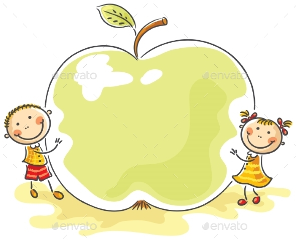 GraphicRiver Little Kids with a Giant Apple 9494315