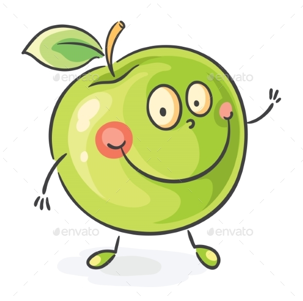 GraphicRiver Smiling Cartoon Apple 9494325