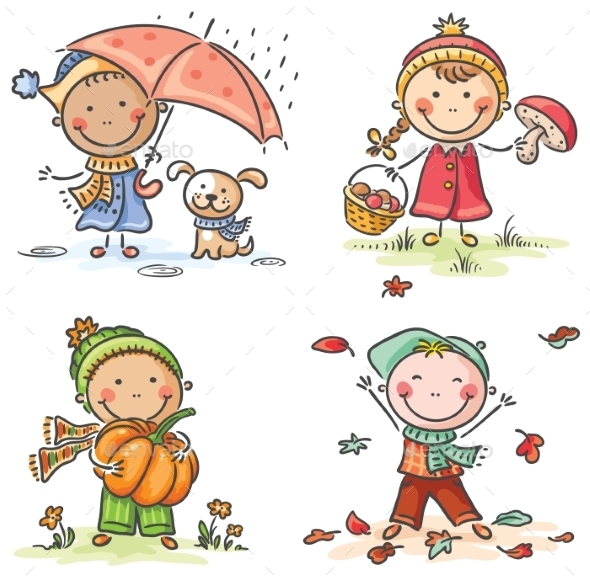 GraphicRiver Little Kids Autumn Activities 9494331
