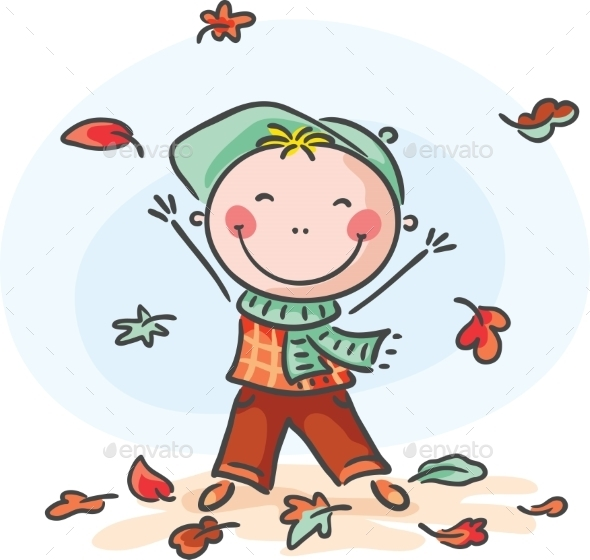 GraphicRiver Little Boy Playing with the Leaves 9494332