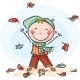 Little Boy Playing with the Leaves - GraphicRiver Item for Sale