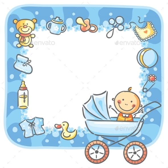 GraphicRiver Frame with Baby-Boy Things 9494334