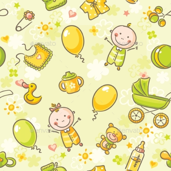 GraphicRiver Seamless Pattern with Babies 9494340
