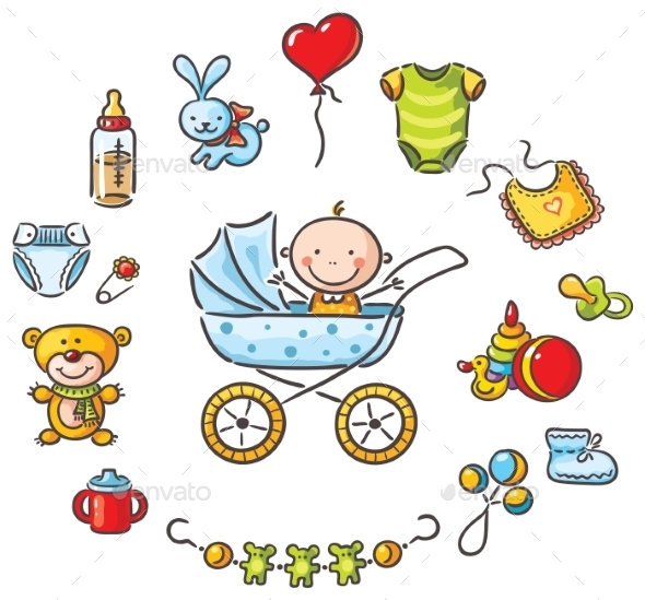 GraphicRiver Baby in a Baby-Carriage with Baby Things 9494342