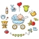 Baby in a Baby-Carriage with Baby Things - GraphicRiver Item for Sale