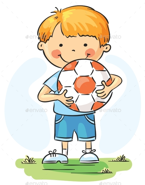GraphicRiver Little Boy with Football 9494352