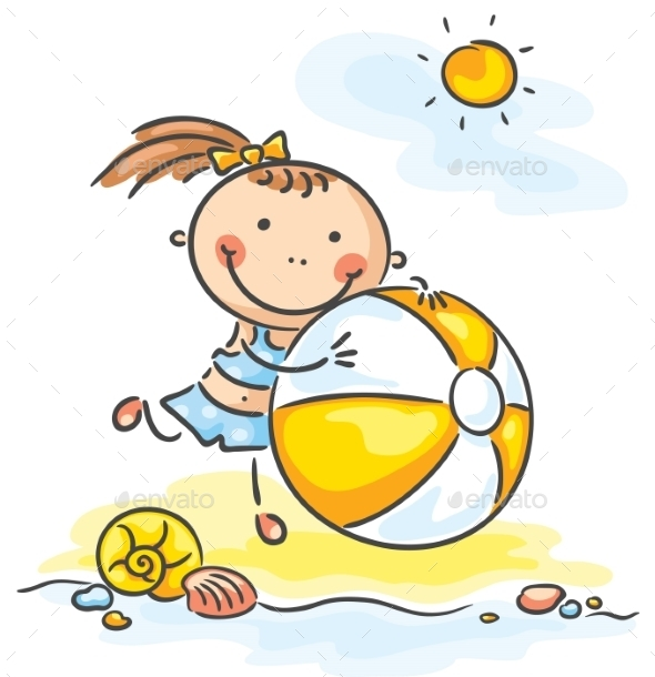 GraphicRiver Little Girl with a Ball 9494357