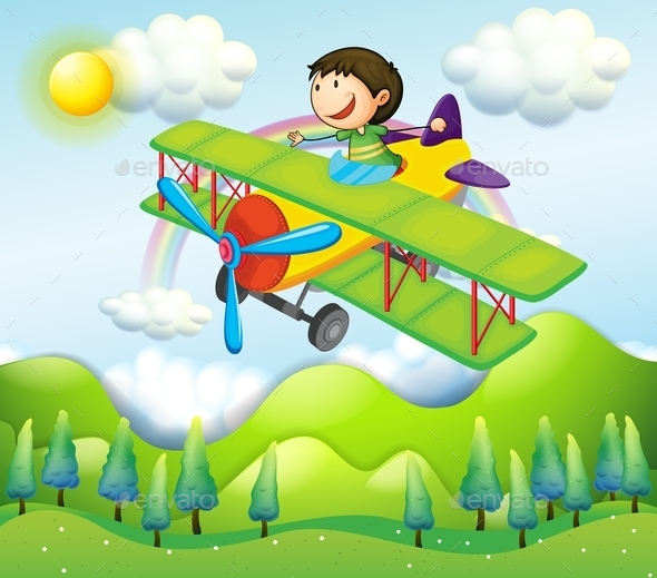 GraphicRiver Young Man Riding in a Colorful Plane 9494358