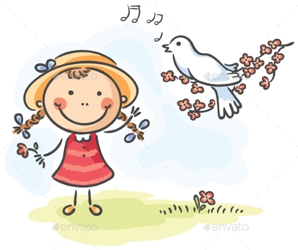 GraphicRiver Little Girl and Bird s 9494364