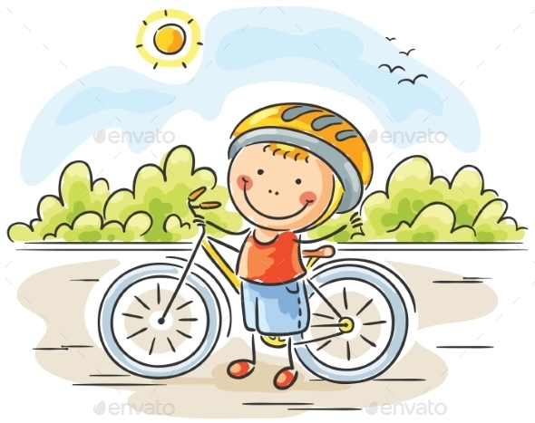 GraphicRiver Little Boy and Bike 9494367