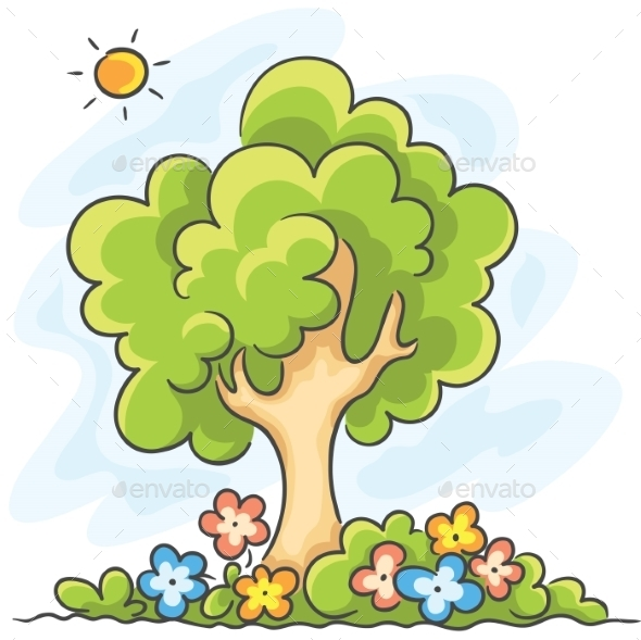GraphicRiver Tree and Flowers 9494371