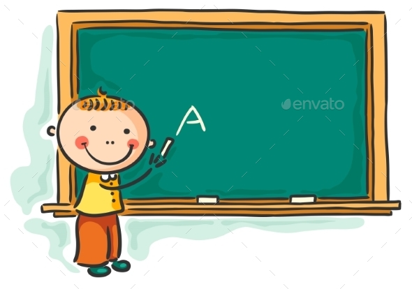GraphicRiver Little Boy at the Blackboard 9494410