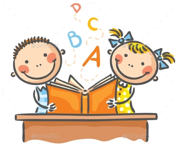 GraphicRiver Children with a Book 9494416