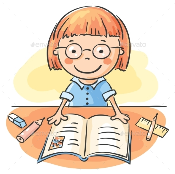 GraphicRiver Girl Reading a Book 9494426