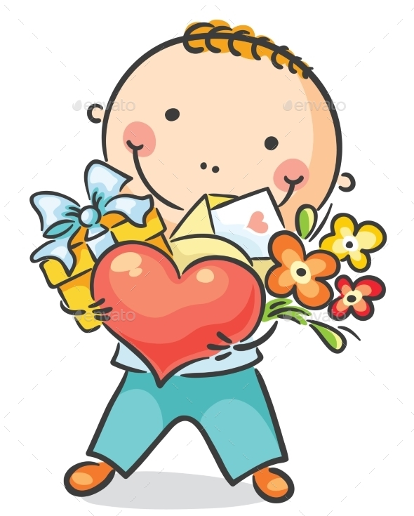 GraphicRiver Boy with a Heart Flowers and Present 9494446