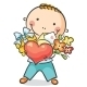 Boy with a Heart, Flowers and Present - GraphicRiver Item for Sale