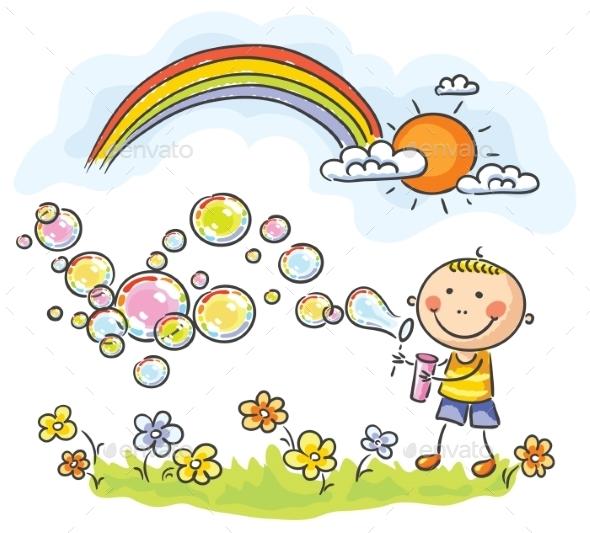 GraphicRiver Child Blowing Soap Bubbles 9494461