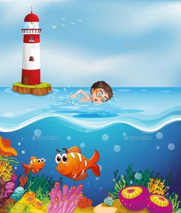 GraphicRiver Boy Swimming at the Beach with a Lighthouse 9494484