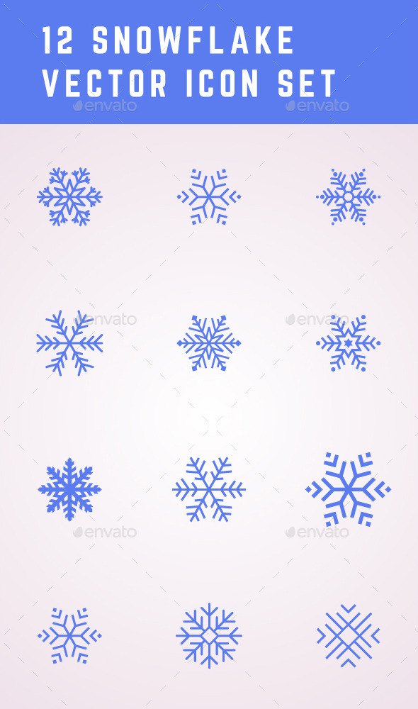 GraphicRiver 12 Snowflake Icons 9494763