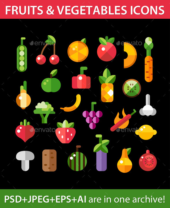 GraphicRiver Fruit and Vegetables Icons 9444498