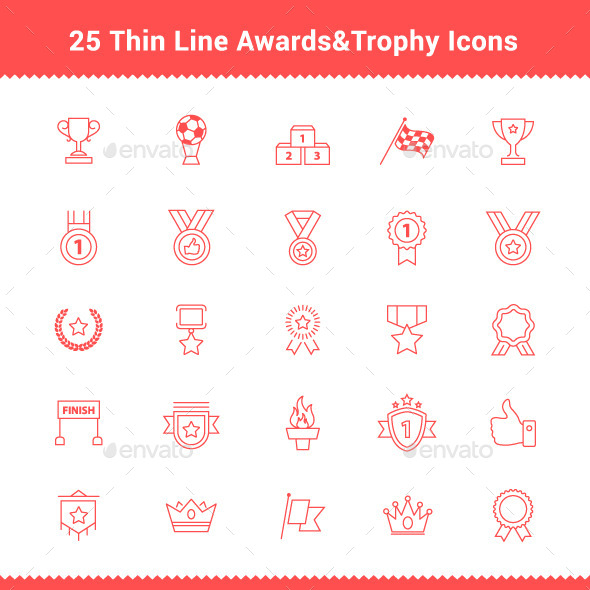 GraphicRiver 25 Thin Line Stroke Awards Icons 9495342