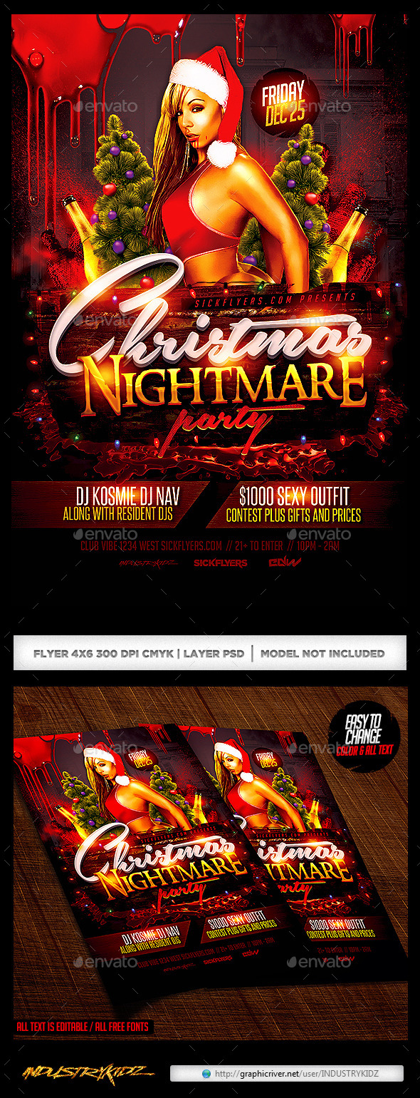 Christmas Nightmare Party Flyer