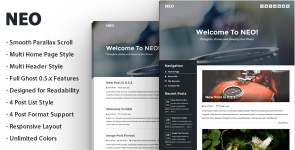 ThemeForest NEO A Modern Blog Theme For Ghost 9461551