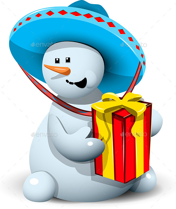 GraphicRiver Snowman in a Sombrero with Gift 9495941