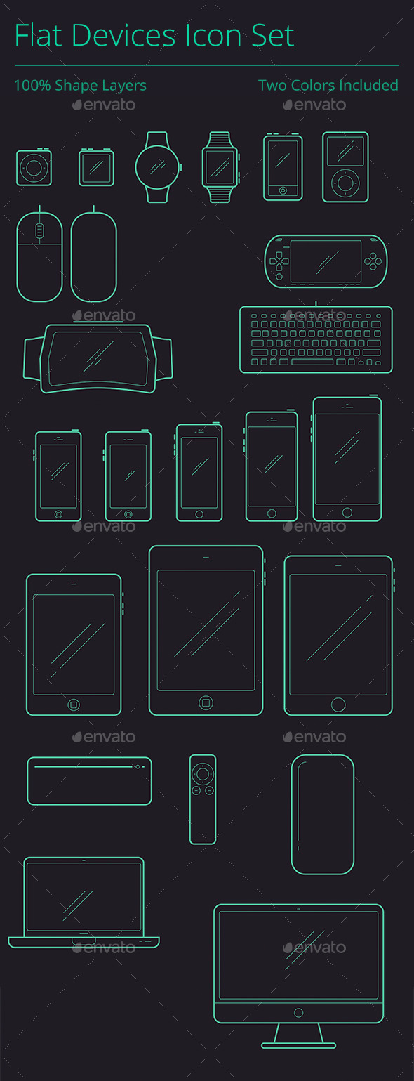GraphicRiver Outline Flat Devices Icon Set 9496496