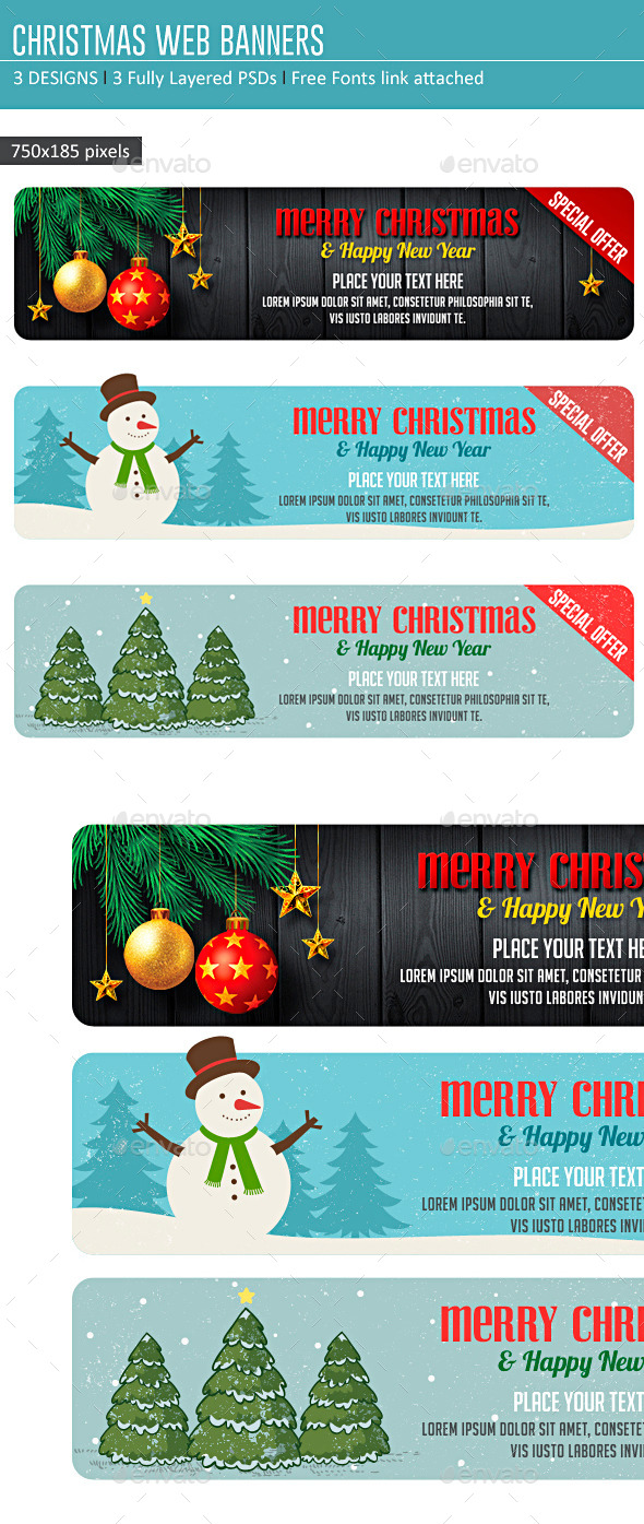 GraphicRiver Christmas Web Banners 9496497