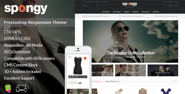 ThemeForest Spongy Prestashop Responsive Theme 9496678