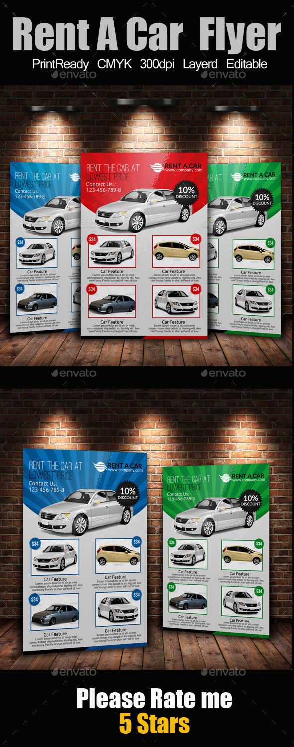 GraphicRiver Rent A Car Flyer 9496752