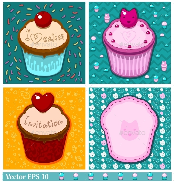 GraphicRiver Set of Cake Cards Template 9496833