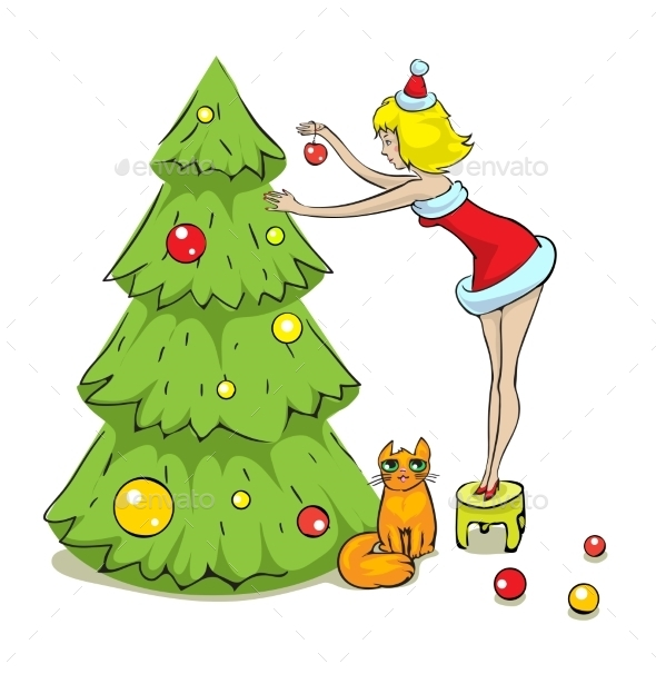 GraphicRiver Girl Cat and Christmas Tree 9497119