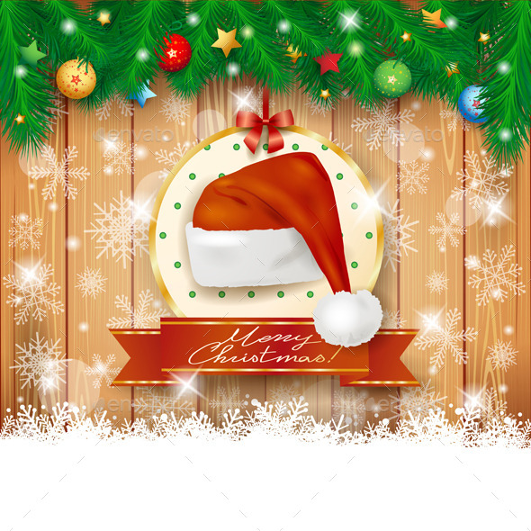 GraphicRiver Christmas Background with Fir Hat and Copy Space 9497267